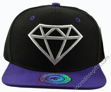 Diamond Black Hat Purple Brim White Embroidered Snapback Hat
