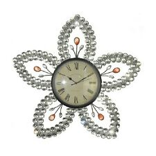 Large 60cm Acrylic Sparkling Star Flower Metal Wall Art Wall Hanging Clock