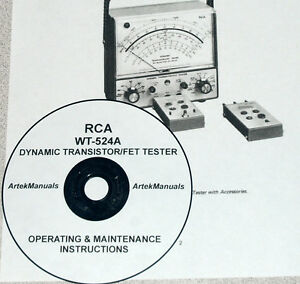 RCA WT-524A Dynamic Transistor/FET Tester Operating & Maintenance Manual