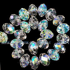 New 70pcs 10x8mm Clear +AB Crystal Faceted Abacus Gems Loose Beads