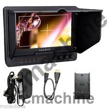"Lilliput 7"" 665/P+Canon LP-E6 adapter, PEAKING, Zebra HDMI IN Monitor+cable+gift"
