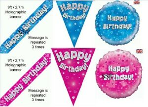OAKTREE Pink Blue Holographic Foil Birthday Banner Bunting Balloon Age 1 - 90