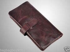 Genuine Leather Women's Long Wallet Brown Clutch Purse Lady's Credit Card Holder