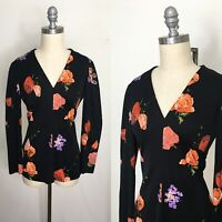 Vintage 70s Black Floral Polyester Blouse Size Small