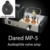 DARED MP-5 Audiophile Valve amplifier with micropod speakers & cable RRP £614