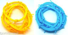 2 Yellow & 2 Blue Men Women's Barb Barbed Wire Rubber Wrist Bracelet