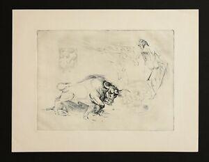 Vintage Etching print on paper. Bull, woman, world ...