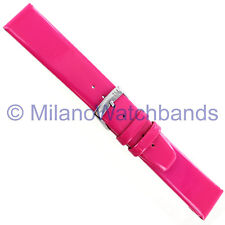 18mm Milano Hot Pink Genuine Patent Leather Padded Square Tip Watch Band 3642