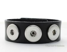 Black Interchangeable Snap Bracelet Holds 3 18mm Snap Charms