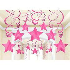 30 Bright Pink Shooting Star Swirl Decoration Graduation Wedding Birthday Party
