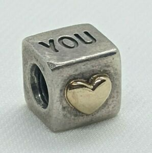 Authentic Pandora Charm I Love You Heart Box Cube 790200 Sterling & 14k Retired
