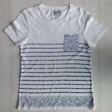 Mens ASOS, White with blue stripes, short sleeved, crew neck t-shirt size S