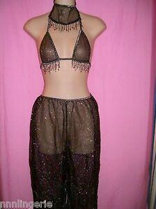 Tease Bodywear Lingerie Harem Belly Dancer 3 Piece Roleplay Costume: One Size