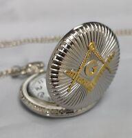 Masonic Masons Gold & Silver Fob Pocket Watch Chain Necklace Regalia Freemasonry