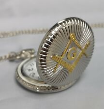 Masonic Masons Gold & Silver Fob Pocket Watch Chain Necklace Regalia Freemasonry
