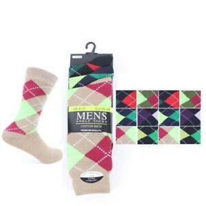 Mens Boys 12 Pairs Bright Argyle Diamond Cotton Rich Lycra Design Socks Size Uk