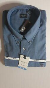 NWT Men's Van Heusen Studio No Iron Blue Dress Shirt Size Large 2XLT $50