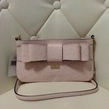 Kate Spade Presley Charm City Ostrich Pink Cross Body Bag Leather Women's New