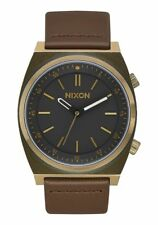 NIXON Brigade Leather Watch - A1178 2539, Brass/Black/Taupe