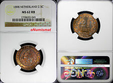 Netherlands Bronze 1898 2-1/2 Cent Last Date fot the Type NGC MS62 RB  KM# 108