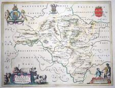 c1648 - WALES Original Antique large Map of RADNORSHIRE RADNOR by BLAEU