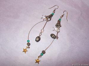 VINTAGE 80'S DARK SILVER TONE WIRE GLASS STAR ORNATE DANGLE EARRINGS UNWORN