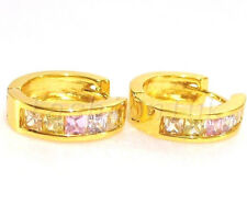 fashion1uk 24K Gold Plated Simulated Diamond 16mm Huggie Hoop Earrings