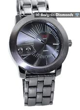 mens big heavy gunmetal clubbing watch black dial link bracelet designer man's