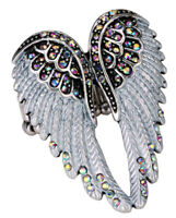 Angel wing stretch ring silk scarf clasp women her jewelry gifts gold silver 2