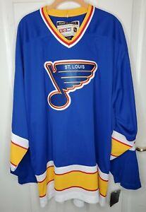 Men's St. Louis Blues CCM Royal Classic Authentic Throwback Team Jersey Size 56