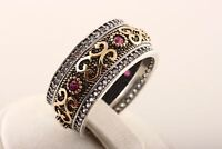 Authentic! Turkish Handmade Jewelry Ruby Topaz 925 Sterling Silver Ring Size 7