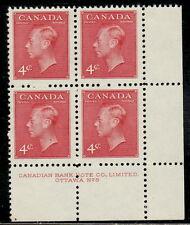 "Canada #287 4¢ King George VI ""Postes-Postage"" LR Plate #8 Block MVLH"