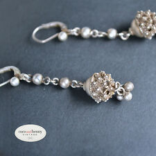 *Vintage 60's Indian Studded Silver Balls Earrings 5cm Drop