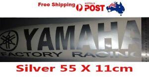 Silver Yamaha Factory Racing sticker vinyl decal 550mm x 110mm, car ute sticker