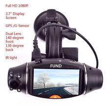 1080P Car Dash DVR Camera Video Recorder CAM+G-sensor+GPS+Dual Lens+270° Rotate