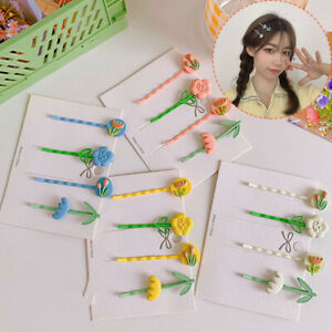 4Pcs/Set Candy Color Flowers Metal Hairpins Women Sweet Barrettes Hair Clip Gift