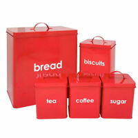 5PC Red Retro Storage Canisters Set Metal Bread Bin Biscuits Sugar Coffee Tea