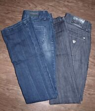 Guess Jeans LOT of TWO Size 25 Womens Guess Jeans Tattoo and Gray Black