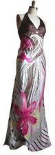 OLEG CASSINI Multi Oc Brown & Pink Silk Print Halter Top Floor Length Maxi Gown