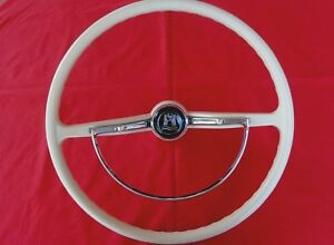 VW KARMANN GHIA STEERING WHEEL 1962 OFF-WHITE/SILVER GRAY, BEST ON THE MARKET