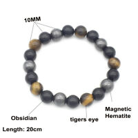 Natural 10mm Tiger's Eye stone Magnetic Hematite Obsidian Beads Elastic Bracelet