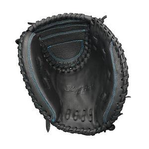 Easton Youth Black Pearl Fastpitch Series 33in Softball Catcher Mitt Black/Aqua