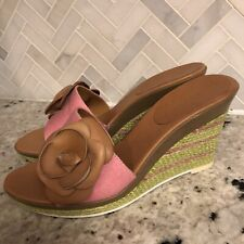 """Enzo Angiolini """"Ealevon"""" Floral Wedge Heels Funky Pink Green Sandals Size 7 M"""
