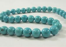 8 mm Smooth Round White OR Blue Howlite Turquoise Genuine Gemstone Beads (#498)