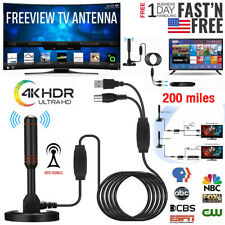 4K 1080P Indoor Digital TV Antenna Amplifier 200 Miles Range HD Signal Booster