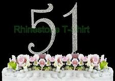 Large Rhinestone NUMBER (51) Cake Topper 51th Birthday Wedding Party Anniversary