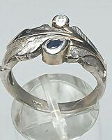 925 Silber Ring naturalistisch kleine Saphire besetzt Franz Scheurle RG 55/17,5