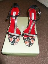 Dune Sandals in Black Floral fabric and Bugle Bead Trim Size 38 UK 5