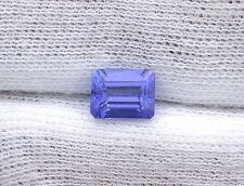 1.52 Carat Emerald Cut Intense Color 7.4mm x 5.7mm x 4.1mm Natural Tanzanite Gem