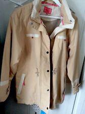 Ladies Jacket oxford blue beige Cream waterproof coat Hood Size large16 New Tags